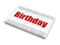 Holiday concept: newspaper headline Birthday. On White background, 3D rendering Stock Photo