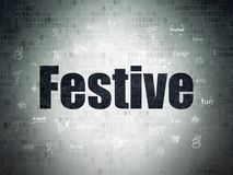 Holiday concept: Festive on Digital Data Paper background. Holiday concept: Painted black text Festive on Digital Data Paper background with  Hand Drawn Holiday Stock Image