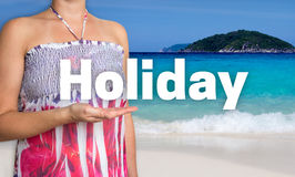 Holiday concept is presented by woman on the beach Stock Photos