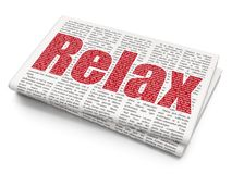 Holiday concept: Relax on Newspaper background. Holiday concept: Pixelated red text Relax on Newspaper background, 3D rendering Stock Image