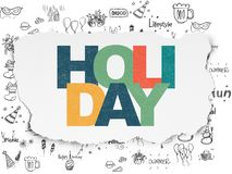 Holiday concept: Holiday on Torn Paper background. Holiday concept: Painted multicolor text Holiday on Torn Paper background with  Hand Drawn Holiday Icons Stock Photography