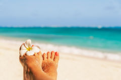 Holiday concept. Woman feet with frangipani flower, relaxing on Royalty Free Stock Photos