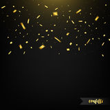 Holiday confetti on dark background with light. Golden confetti. Flying confetti Stock Photography
