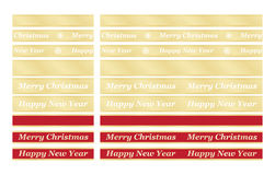 Holiday congratulation ribbons. Set of seamless holiday congratulation ribbons Stock Photo