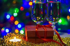 holiday congratulatory photo with cristal glasses and lights royalty free stock photos