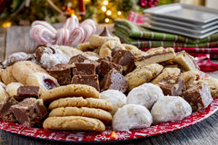 Holiday Cookie Gift Tray with Assorted Baked Goods Stock Image
