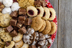 Holiday Cookie Gift Tray with Assorted Baked Goods Royalty Free Stock Images