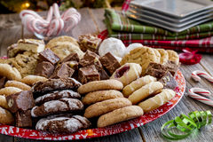 Holiday Cookie Gift Tray with Assorted Baked Goods Royalty Free Stock Photos