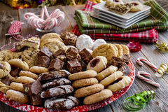 Holiday Cookie Gift Tray with Assorted Baked Goods Royalty Free Stock Photo