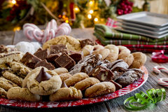 Holiday Cookie Gift Tray with Assorted Baked Goods Stock Photos