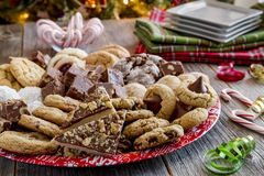 Holiday Cookie Gift Tray With Assorted Baked Goods Royalty Free Stock Image