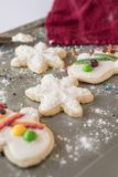 Holiday Cookies On A Baking Sheet royalty free stock image