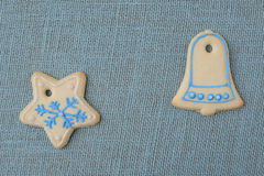 Holiday Cookies On Blue Background for the Holidays Royalty Free Stock Image