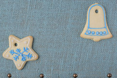 Holiday Cookies On Blue Background for the Holidays Stock Photos