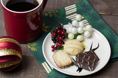 Holiday Cookies and Coffee Stock Images