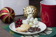 Holiday Cookies and Coffee Stock Photo