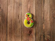 Holiday cookies icing eight mothers day wooden background stock image