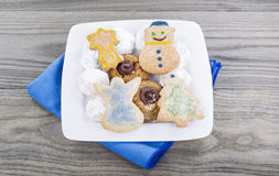 Holiday Cookies on Old Wooden Table Royalty Free Stock Images