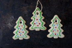 Holiday Cookies On Rustic Metal Background for the Holidays Royalty Free Stock Photos