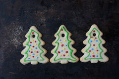 Holiday Cookies On Rustic Metal Background for the Holidays Stock Photo
