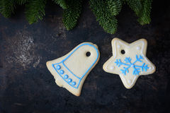 Holiday Cookies On Rustic Metal Background for the Holidays Stock Images