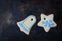 Holiday Cookies On Rustic Metal Background for the Holidays Stock Image