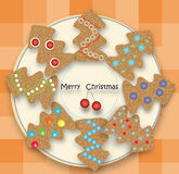 Holiday cookies in a tree. Festive cookies with Christmas tree ornament Stock Photos
