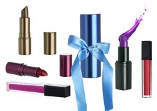 Holiday Cosmetic Gift Set with Lipstick Makeup stock photo