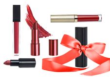 Holiday Cosmetic Gift Set with Lipstick Makeup stock images