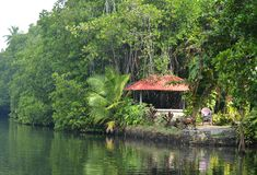 Thailand. A house on the river bank. Holiday cottage in the exotic place of Thailand on a summer day Stock Photo