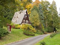 Holiday cottage in the mountains of the Czech Republic. stock photos