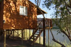 Holiday cottage near a river in Namibia Stock Image