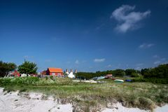 Holiday cottages on the beach on Bornholm Stock Photography