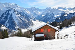 Holiday cottages in Braunwald, Switzerland Stock Image