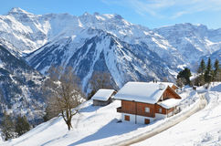 Holiday cottages in Braunwald, Switzerland Royalty Free Stock Photography