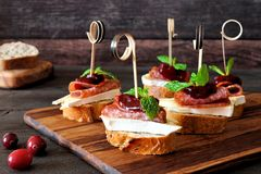 Holiday crostini skewers with cranberry sauce Stock Image