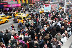Holiday Crowd. In Times Square before Royalty Free Stock Photography