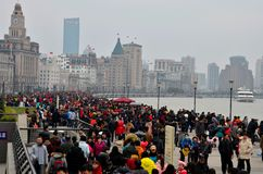 Holiday crowds throng the Bund in Shanghai, China Royalty Free Stock Photos