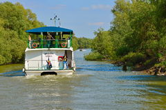 Holiday on a cruise boat. Cruising boat on  Danube  Delta Royalty Free Stock Photos