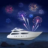 Holiday Cruise Fireworks Composition. Fireworks composition of night sea landscape and images of boat and firework spots in night sky vector illustration Stock Image