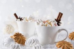 Holiday cup of cocoa with marshmallow or coffee with spice and home cookies. Christmas background Royalty Free Stock Photography