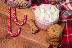 Holiday cup of cocoa with marshmallow or coffee with spice and home cookies. Christmas background Stock Photography