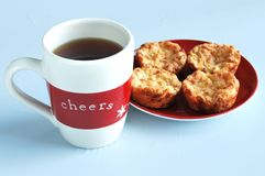 Holiday cup of tea with muffins Stock Photo