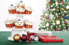 Holiday cupcakes with decorations Royalty Free Stock Photos