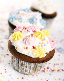 Holiday cupcakes on white background Stock Image