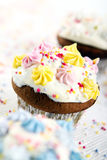 Holiday cupcakes on white background Royalty Free Stock Photo