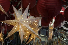 Holiday cut-out star decorations Stock Image
