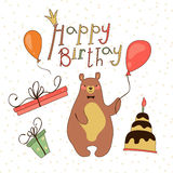 Holiday with cute bear. Vector illustration of a Stock Photography