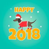 Holiday dachshund. Perfect for the year of dog 2018. New Year background Stock Photography