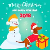 Holiday dachshund and winter scene. Christmas or New Year background. Perfect for the year of dog 2018 Stock Photos